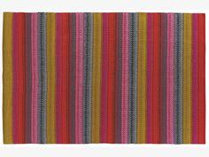 AGNES MULTI-COLOURED Cotton Medium bright stripe cotton rug 140 x 200cm - HabitatUK