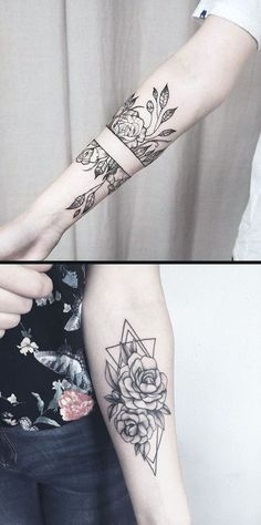 Geometric Diamond Rose Forearm Tattoo Ideas for Women  Black Wild Flower Vine L