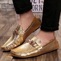 Gold Arrogance Moccasins Flat Men...Any men daring enough to wear these?