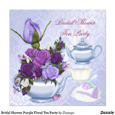 Bridal Shower Purple Floral Tea Party Card Bridal Shower Wedding Shower Tea Party Afternoon Tea Party Vintage Flowers Pretty purple lilac Floral Teapot. Morning Tea retro old world. All Occasion Invitations. Party invites Template for Bridal Shower