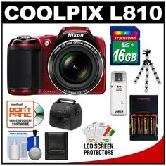Nikon Coolpix L810 Digital Camera (Red) with 16GB Card + Batteries & Charger + Case + Flex Tripod + Accessory Kit by Nikon. $249.95. Kit includes:♦ 1) Nikon Coolpix L810 Digital Camera (Red) ♦ 2) Transcend 16GB SecureDigital Class 4 (SDHC) Card♦ 3) Precision Design (4) 2900mAh AA NiMH Batteries & Rapid Charger♦ 4) Precision Design PD-C10 Camera Case ♦ 5) Precision Design PD-T12 Flexible Compact Camera Mini Tripod♦ 6) Precision Design USB 2.0 SecureDigit...