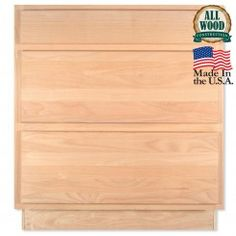 "Drawer Base 30"" Unfinished Alder Pot & Pan Kitchen Cabinet"