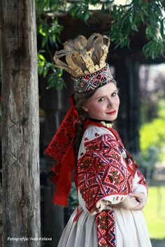 Europe | Portrait of a woman wearing traditional clothes and bridal crown, Voloder, Moslavina, Croatia #wedding