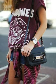 Hipster fashion. Red tee. Shorts. Red flannel. Purse. Ring. Watch. Teen outfit. Hip. Cute. Outfit ideas.