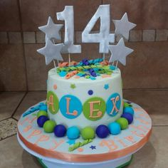 Birthday cake for a girl turning 14