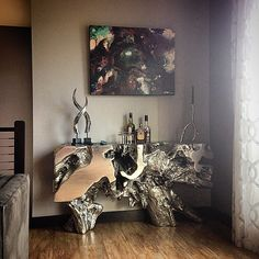 Accents His Gorgeous Painting With Our Sequoia Console Table .