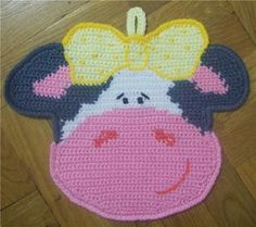 Crochet cow potholder (1)
