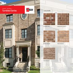 Tumbled Series reflects warm hues that bring rugged beauty to any building. These clay bricks go through an additional surfacing process to create a unique appearance that mirrors the look of tumbled brick at a fraction of the cost. Madison County, Brick Colors, Bricks, Mirrors, Multi Story Building, New Homes, Palette, Clay, Exterior