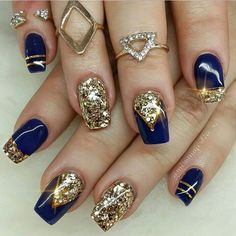 Royal blue nails designs gold Ideas for 2020 Blue Gold Nails, Royal Blue Nails, Gold Acrylic Nails, Gold Glitter Nails, Bling Nails, Glitter Toms, Glitter Letters, Glitter Force, Cute Nails