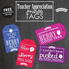 FREE - Teacher appreciation gift tags!