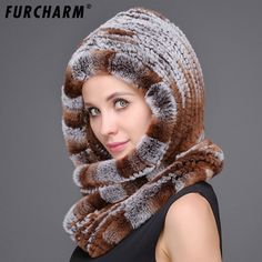 ==> [Free Shipping] Buy Best Rex Rabbit Fur Knitted Scarf Hat for the Winter Warm Genuine Fur Winter Balaclava Women Winter Long Hooded Scarves Caps Online with LOWEST Price | 32818950889