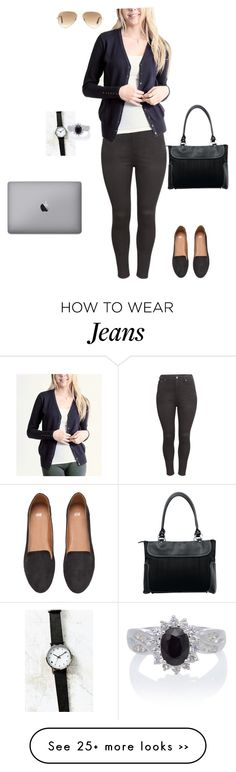 """""""White shirt, navy cardigan, black jeans"""" by maggie-kate-minogue on Polyvore featuring H&M, 42Pops, Traveler's Choice, Ray-Ban and plus size clothing"""