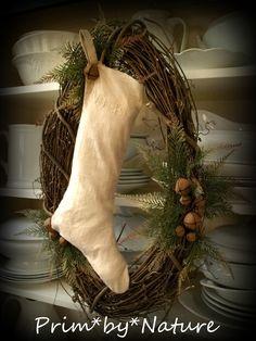 Primitive Christmas Wreath with White Stocking