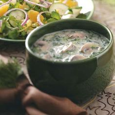 Mushroom-Spinach Cream Soup This is delicious! I used fresh oregano, basil, rosemary and thyme instead of Italian seasoning and it was to die for!