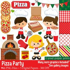 Pizza Party- Clip art and digital paper set - Pizza clipart Planner Stickers, Pics Art, Art Graphique, Photoshop Elements, Project Yourself, Print And Cut, Branding, Art Images, Pizza Party