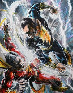 Captain Marvel vs Black Adam   Artist: Yildiray Cinar