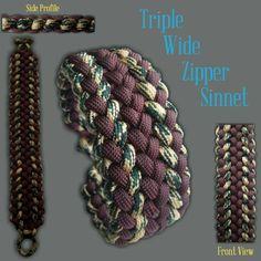 Triple Wide Zipper Sinnet Paracord Bracelet Designs, Paracord Knots, Paracord Projects, Paracord Bracelets, Paracord Ideas, Make Your Own Bracelet, Tie Knots, Weaving, Survival