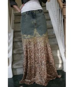 Jeans to skirt remake (not so crazy about the leopard print but love the style!)