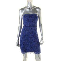 Diane Von Furstenberg New Walker Blue Lace Mini Party Cocktail Dress 4 BHFO