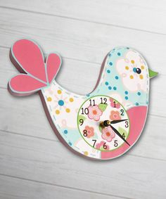 Birdie Clock by Toad and Lily #zulily #zulilyfinds