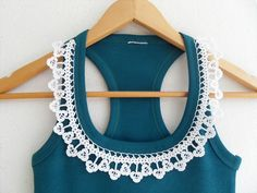 Crocheted Lace Collar Cotton Yarn Top, Blouse, Tunic, Gift For Her, White And Teal Green Halter Top. $26,00, via Etsy.