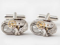 Steampunk cufflinks  Rare Elgin watch movements with gears and ruby jewels  wedding anniversary or grooms cuff links for men