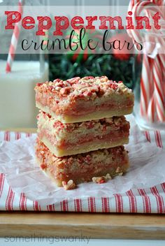 Peppermint Crumble Bars #christmas #dessert #recipes. Also try with Andes crime de menthe chips and a chocolate crumb crust.