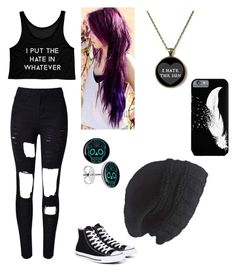 """All black - emo outfit"" by pastel-puff ❤ liked on Polyvore featuring Converse, Laundromat, black, emo and emooutfit"