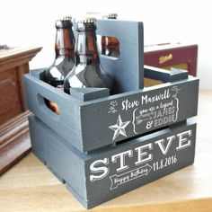 Personalised Wooden Beer Holder