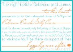 Adorable rehearsal dinner invitation!