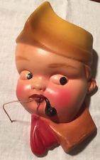 Vintage Chalkware String Holder - Sailor Boy With Pipe Very Nice