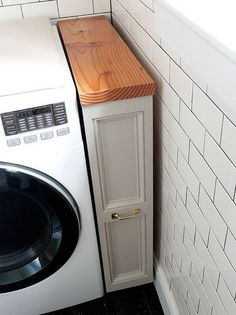 Image on The Owner-Builder Network  http://theownerbuildernetwork.co/ideas-for-your-rooms/home-storage-gallery/super-clever-laundry-room-storage-solutions/ Laundry Area, Laundry Detergent Storage, Storage For Laundry Room, Laundry Room Sink Cabinet, Laundry Cabinets, Tiny Laundry Rooms, Oven Cabinet, Laundry Room Colors, Hidden Laundry
