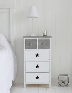 Grey And White Stars Bedroom Furniture A Bedside Table With Five Drawers