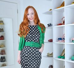 green cardigan and polka dot dress