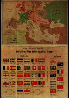 """Reilly's Reference"" chart of European flags and map of 1901. Very cool."