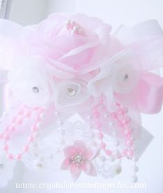 Romantic Rose Pink and White Ornament  http://www.crystalsrosecottagechic.com