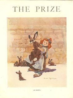 1910 Antique Harry Rountree Print Of Red Haired Girl Carrying A Hare- An Armful. Ideal For Framing