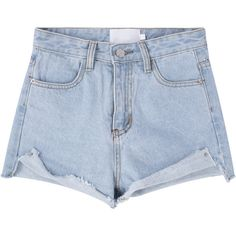 Belted Cutoff Denim Shorts (€11) ❤ liked on Polyvore featuring shorts, bottoms, pants, short, denim shorts, cutoff shorts, denim cutoff shorts, high-waisted shorts and denim cut-off shorts