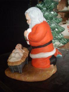 ceramic jesus santa claus kneeling to jesus santa clause praying to baby jeus christmas santa by - Santa Claus And Jesus 2