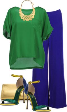 Green blouse and blue pants Royal Blue Pants, Royal Blue Outfits, Cool Outfits, Casual Outfits, Summer Outfits, Fashion Outfits, Blue Pants Outfit, Green Top Outfit, Green Pants