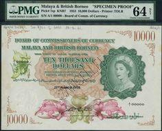 Borneo, Queen Elizabeth, Coins, Paper, World, Rooms