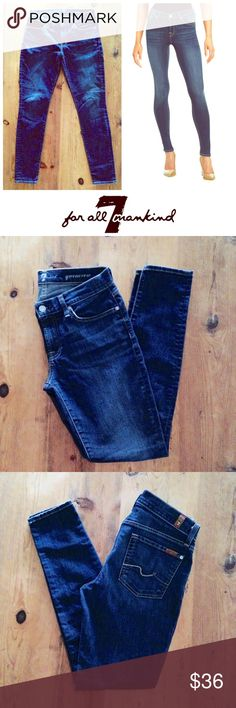 """Sz 28 dark blue skinny jeans by 7 for all Mankind Like new """"Gwenevere"""" skinny jeans by 7 for All Mankind.  Excellent condition!! Same style and size as light blue pair in my closet. Details:  skinny legs, belt loops, 5 pocket design.  Size 28.  Measurements: 32"""" inseam, 8 1/2"""" rise (middle of crotch swam to waistband) 10"""" leg opening (5"""" across). Material:  88% cotton, 10% polyester, 2% spandex. 7 For All Mankind Jeans Skinny"""