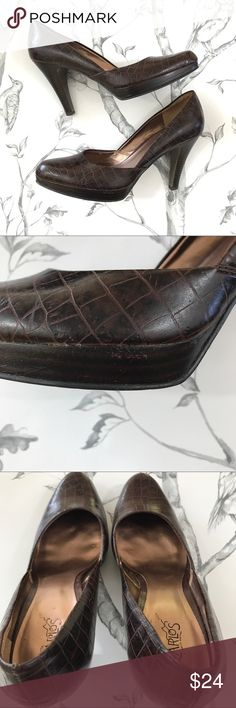"Carlos Santana Brown Reptile Platform Career Heels Pre-loved Carlos Santana Brown Reptile Platform High Heel Career Pumps. Sz 8 1/2. Heel 4"" Platform 5/8"" Man-made materials. Scuff marks and scratches from normal wear (see photos). Soles have wear from use (see photo). Small chunk missing out of left heel (see photo). Great stylish career shoe for the office. Reasonable offers most welcome! Carlos Santana Shoes Heels"