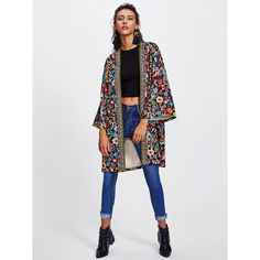 SheIn(sheinside) Embroidered Tape Trim Botanical Kimono Coat (115 RON) ❤ liked on Polyvore featuring outerwear, coats, multi, embroidered coats, kimono coats, long sleeve kimono, collar coat and floral coat