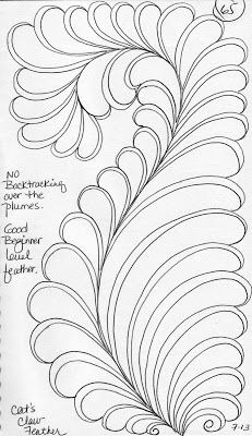 Quilting Sketch Book....Cat's Claw Feather Tutorial