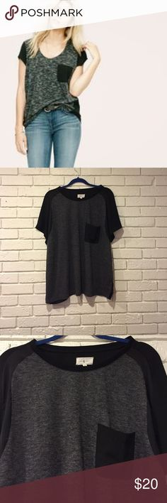 Lou & grey mixed media tee Size XXL fits a 14/16 nicely. Gorgeous top! If you wear white underneath the back is someone sheer but is fine with a black bra or cami. Lou & Grey Tops