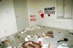 Nation of Ulysses. Hellen Skelter. Gerard Cosloy. Carpete. Rodapés da cor da porta(cinza). Quarto do casal. Grande cama.