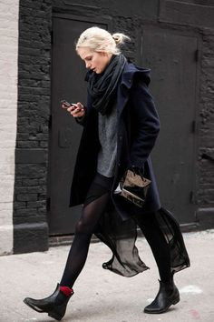 """street style with awesome black chelsea boots! - the coat!! find more women fashion ideas on www.misspool.com"""