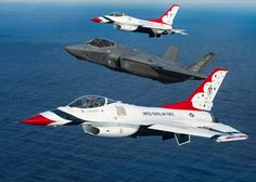 Thunderbirds flying with F-35