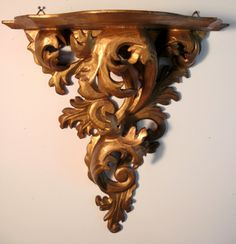 "19th century Italian gilt Rococo handcarved wall bracket c1890 15""H x 13""W"